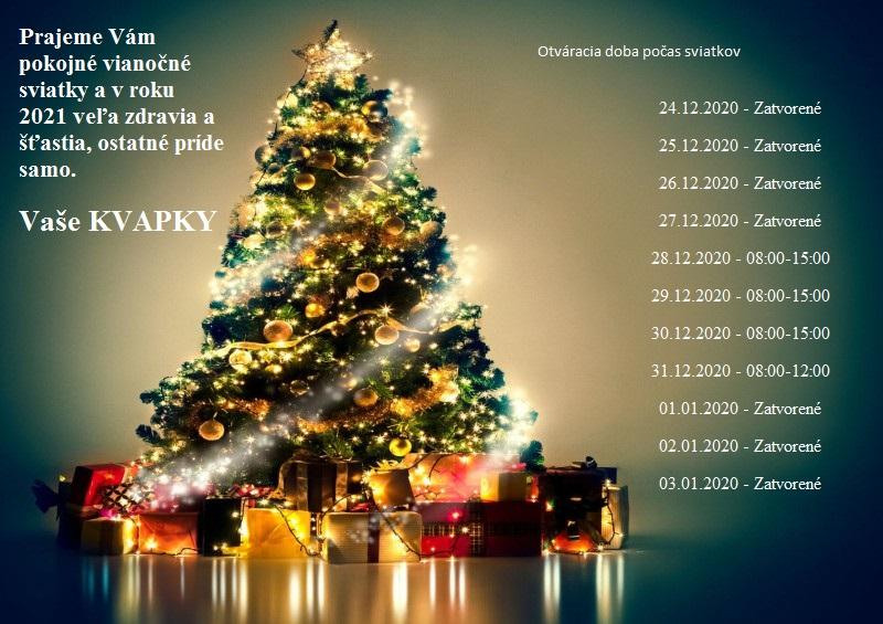 Otváracia doba  počas Vianoc 2020